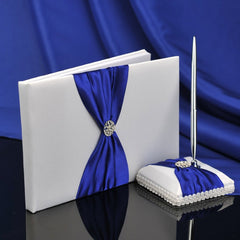 White Satin Wedding Guest Book and Pen Set With Royal Blue Sash - Gifts Are Blue - 2