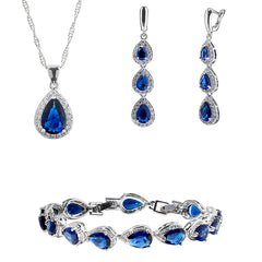Womens 3 Pc Water Drop Jewelry Set, 925 Sterling Silver, Blue and White CZ