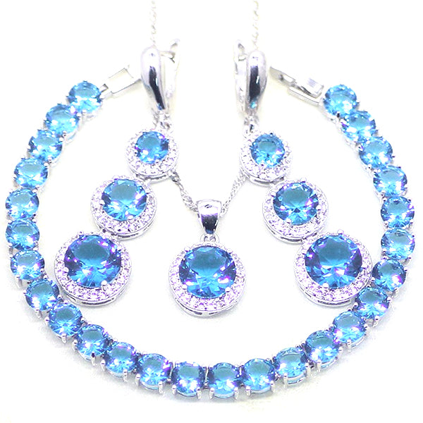 925 Sterling Silver 3 PC Jewelry Set for Women, Created Blue and White Round Stones
