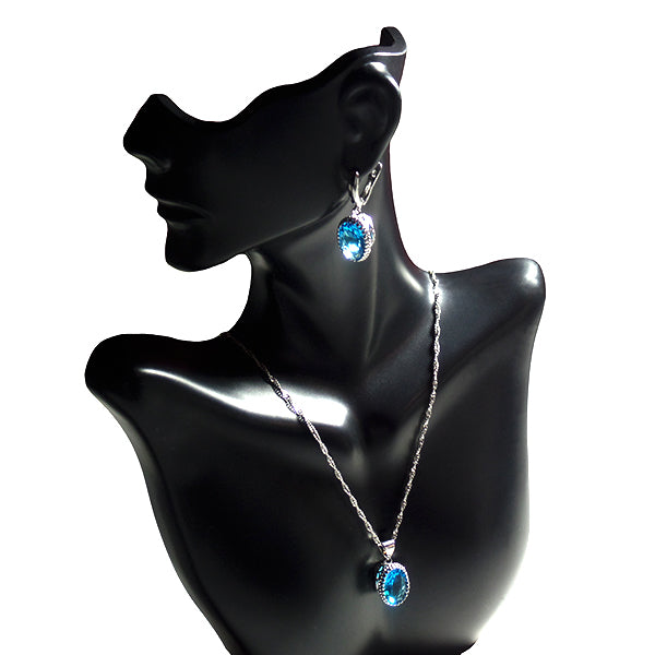 Womens 4pc Topaz Jewelry Set, 925 Sterling Silver, Necklace, Earrings, all SKUs