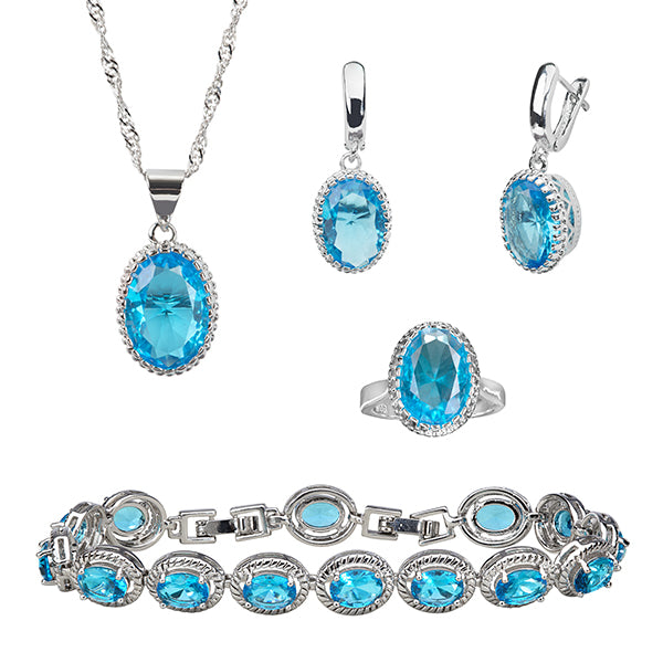 Womens 4 Pcs Jewelry Set, Created Topaz Oval Stones, Plus Sizes Available