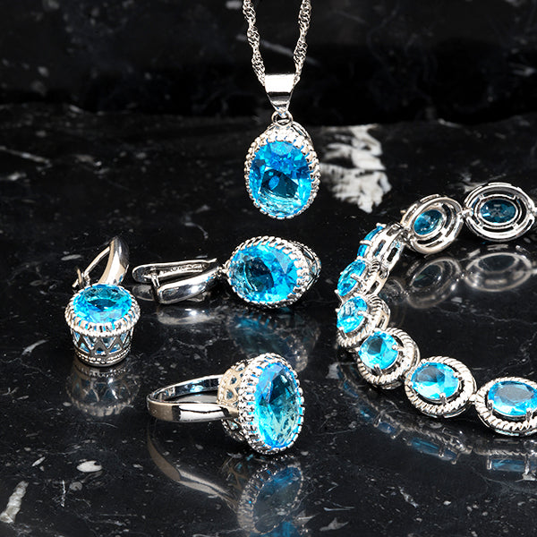 Womens 4pc Topaz Jewelry Set, 925 Sterling Silver, all SKUs