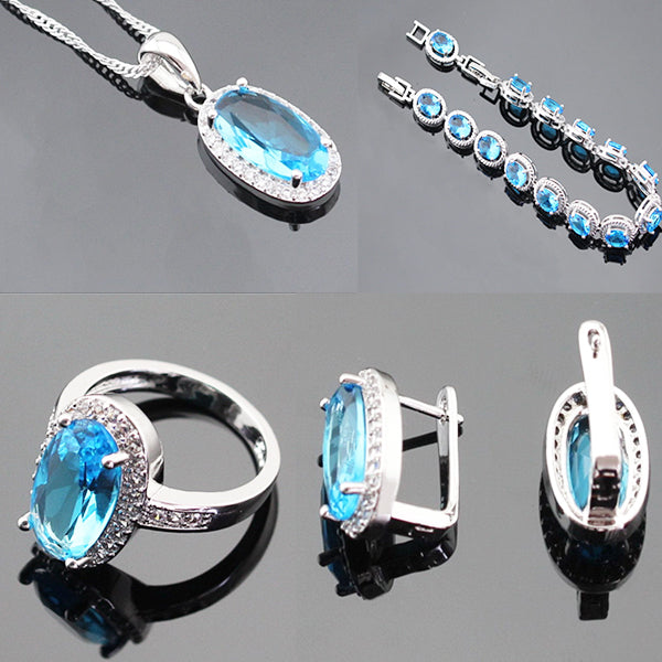 Womens 4pc Topaz Jewelry Set, 925 Sterling Silver, grey back, all SKUs