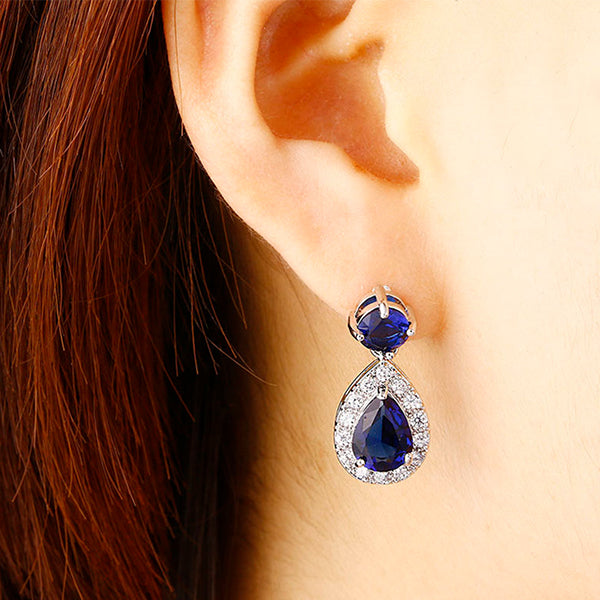 Fashion Drop Earrings with White and Blue CZ for Women