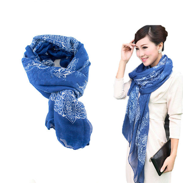 Blue Autumn/Winter Womens Scarf - Gifts Are Blue - 1