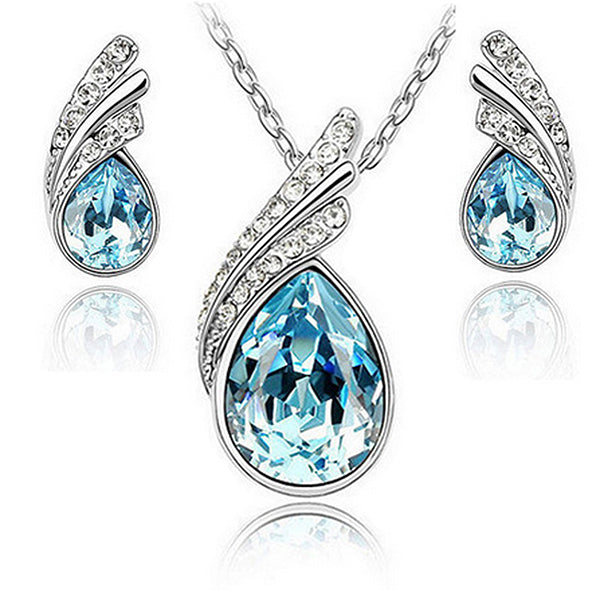 Beautiful Womens Necklace and Earrings Water Drop Jewelry Set