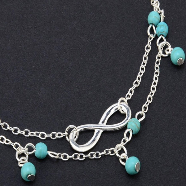 Womens Boho Style Infinity Double Anklet with Blue Beads