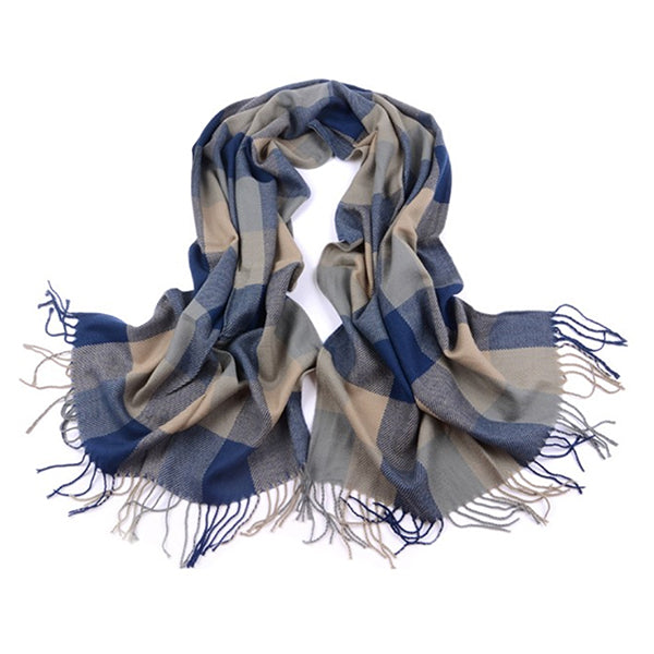 Womens Cashmere Scarf Flat, Blue/Beige 13