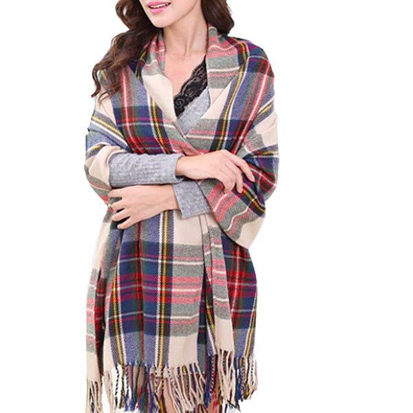Fashionable Womens Large Plaid Wool Scarves for Fall and Winter