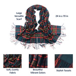 Womens Cashmere Winter and Fall Scarf Details, Green/Red 06