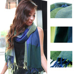 Womens Scarf for Fall and Winter, Blue/Green 07