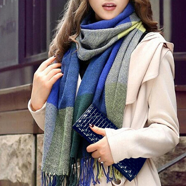 Womens Winter and Fall Scarf, Blue/Green 07