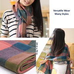 Beautiful Womens Cashmere Scarf Details, Blue/Olive/Pink 09