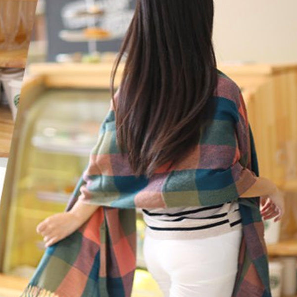 Beautiful Womens Cashmere Scarf Backview, Blue/Olive/Pink 09