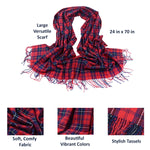 Womens Winter and Fall Cashmere Scarf Details, Red/Blue 03