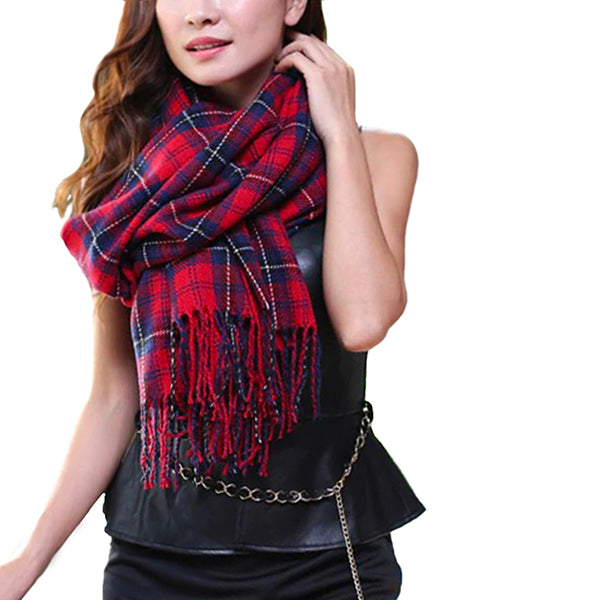 Womens Winter and Fall Cashmere Scarf Model, Red/Blue 03