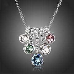 Womens Five Color Series Flower Pendant Necklace