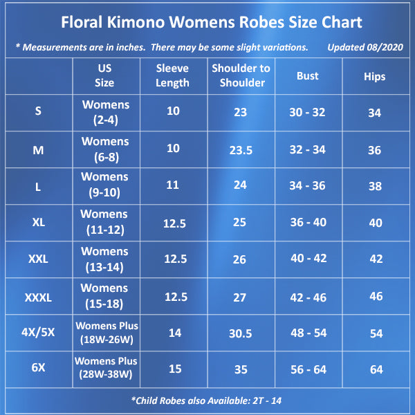 Light Blue Mommy and Me Robes, Floral, Womens Robes Size Chart, all SKUs