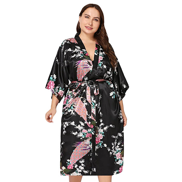 Mommy and Me Robes, Floral, Satin, Black, Womens Robe, all SKUs