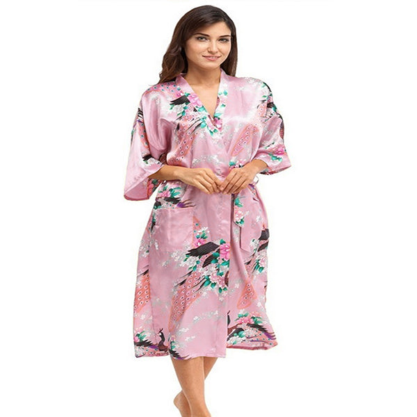Light Pink Mommy and Me Robes, Floral, Satin, Womens Kimono Robe, all SKUs