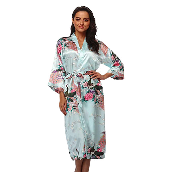 Light Blue Mommy and Me Robes, Floral, Adult Womens Robe, all SKUs