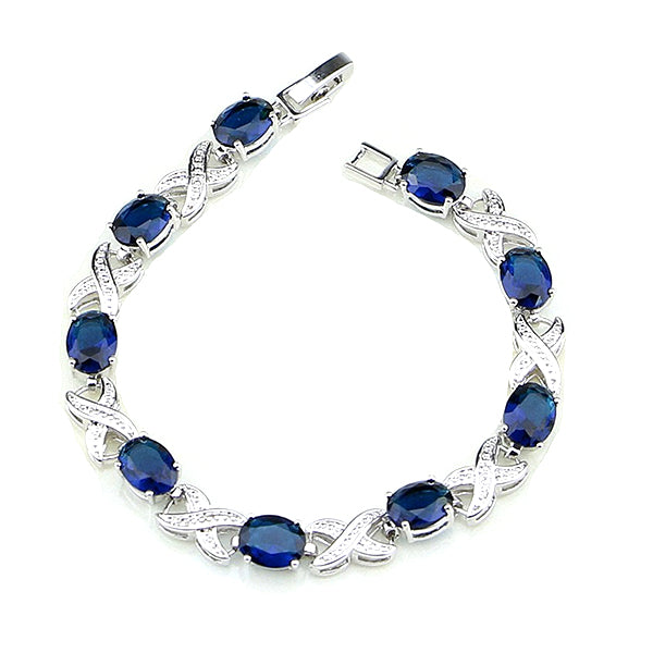 Elegant Womens 925 Sterling Silver Infinity Bracelet, Blue and White CZ