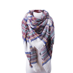 Womens Cold Weather Large Triangle Plaid Scarf