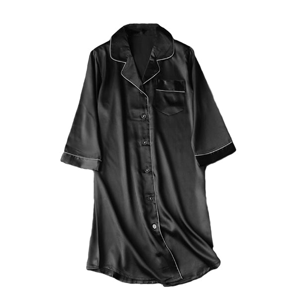 Womens Long Nightshirt Sleepwear, Flat, Black