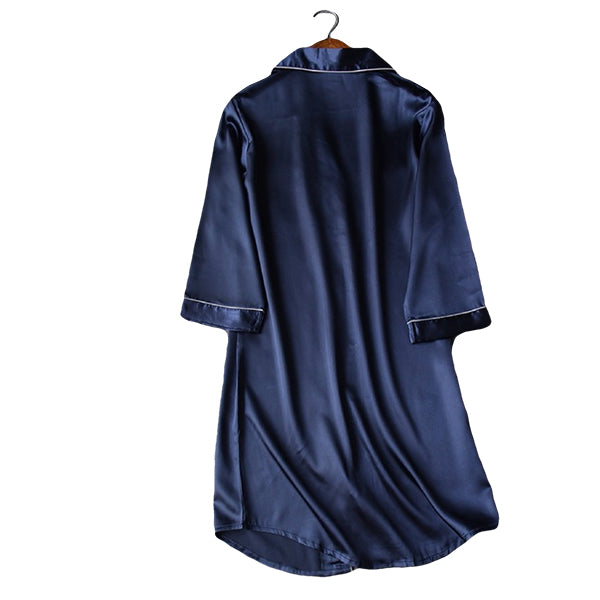 Womens Long Nightshirt, Sleepwear, Backview, Navy Blue