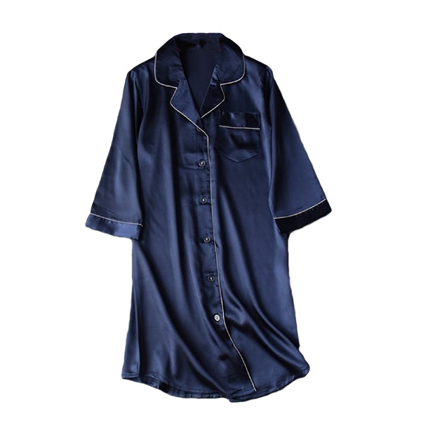 Womens Long Nightshirt Sleepwear, flat, Navy Blue