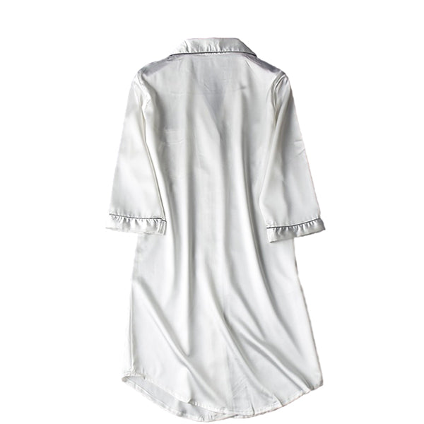 Womens Long Nightshirt, Sleepwear & Loungewear, Backview, White