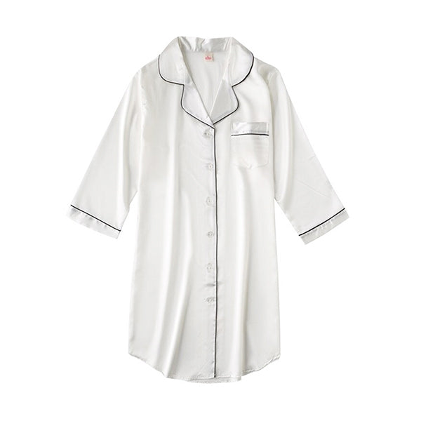 Womens Long Nightshirt, Sleepwear & Loungewear, Flat, White