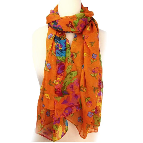 Floral Lightweight Womens Scarf for Fall & Spring