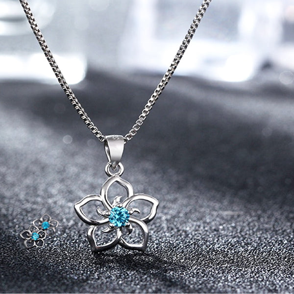 Womens Pendant Necklace and Earrings Set, 925 Sterling Silver