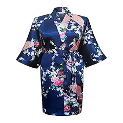 Floral Womens Plus Size Robe, Navy Blue