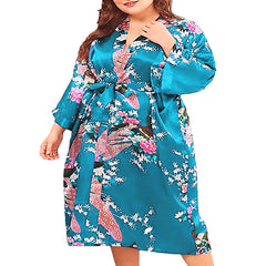 Floral Satin Womens Plus Size Robes, Sizes 20-38, Knee Length