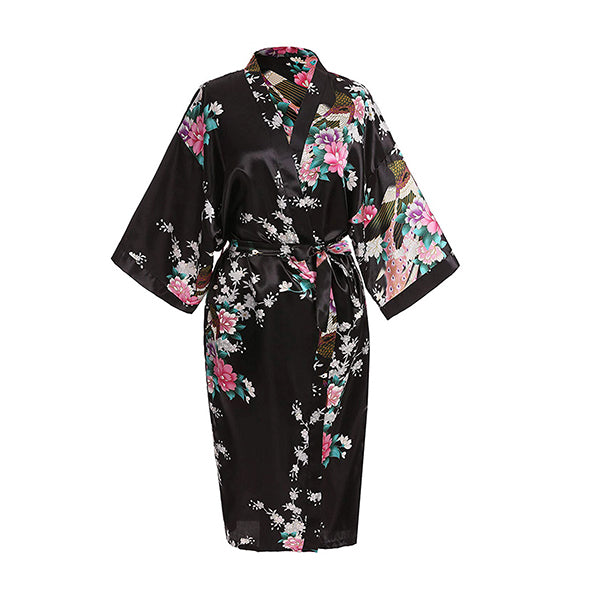Medium Length Floral Womens Robe, Black