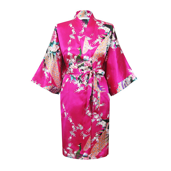 Medium Length Floral Womens Robe, Bright Pink