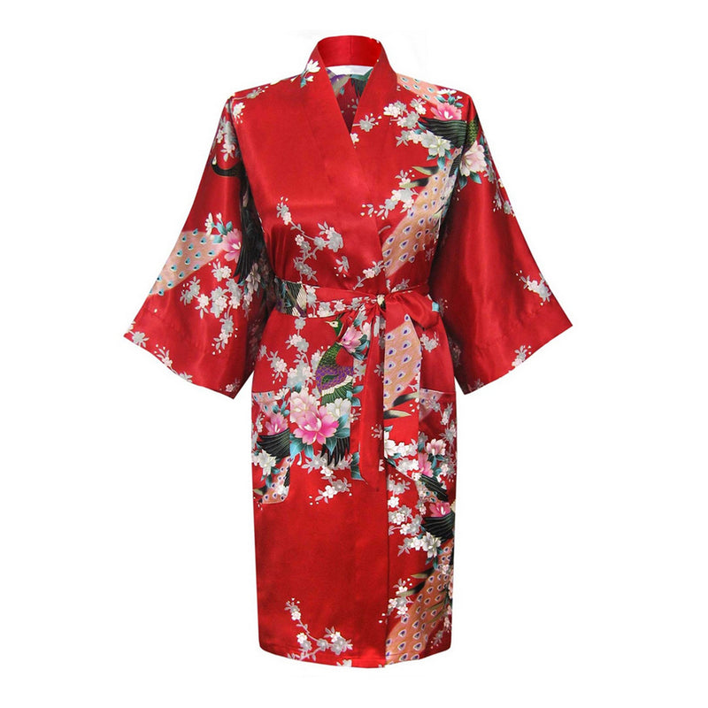 Red Mommy and Me Robes, Floral, Satin, Womens Kimono Robe, all SKUs