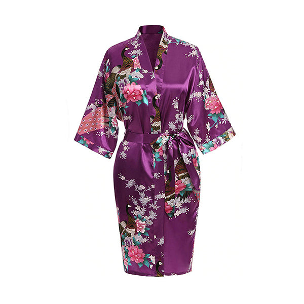 Medium Length Floral Womens Robe, Purple