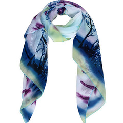 Womens Lightweight Scarf with Printed Artistic Scenery - Gifts Are Blue - 4