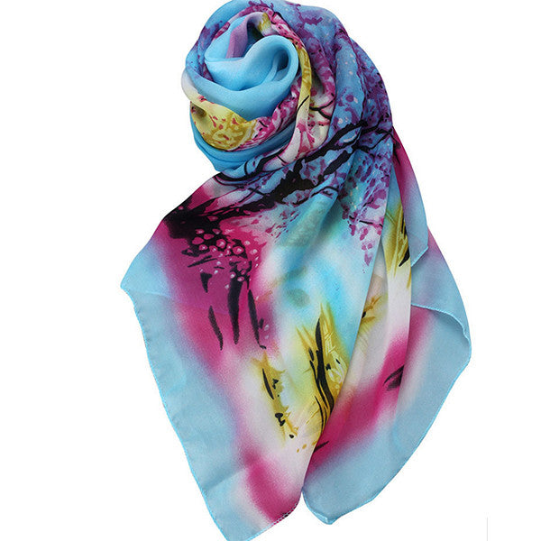 Womens Lightweight Scarf with Printed Artistic Scenery