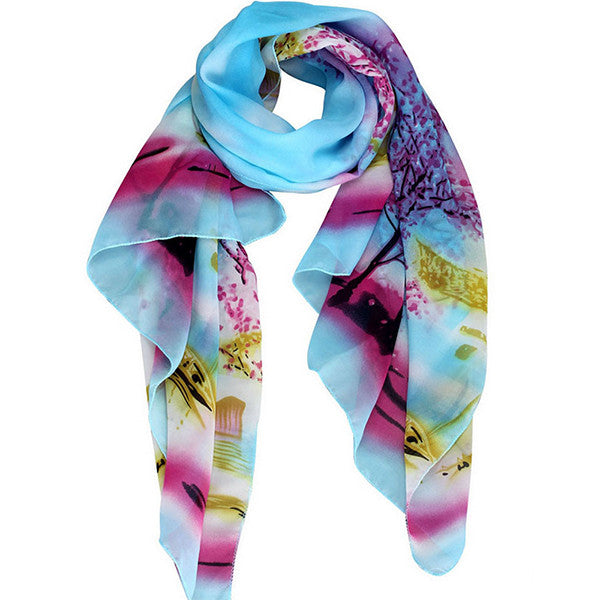 Womens Lightweight Scarf with Printed Artistic Scenery - Gifts Are Blue - 1