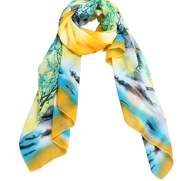 Womens Lightweight Scarf with Printed Artistic Scenery - Gifts Are Blue - 2