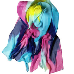 Womens Lightweight Scarf with Printed Artistic Scenery - Gifts Are Blue - 5