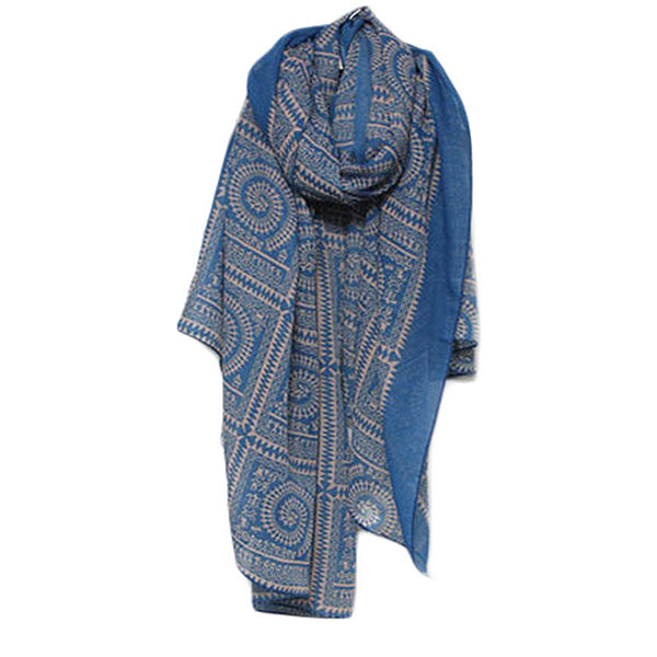 Bali Cotton Long Vintage Blue Print Womens Scarf and Shawl