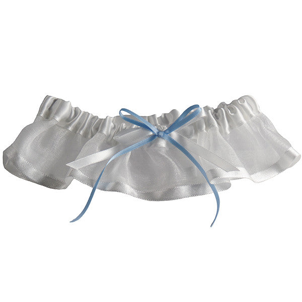 Womens White Bridal Garter with a Hint of Something Blue Ribbon - Gifts Are Blue
