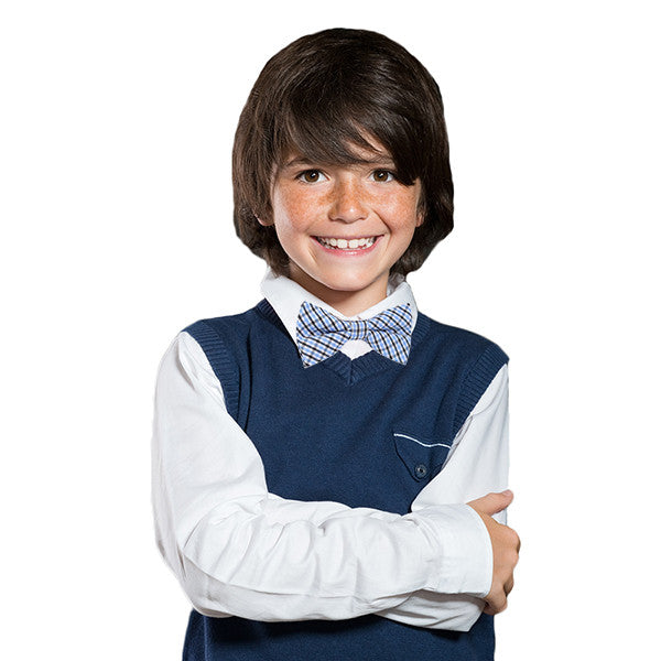 Boys Blue Pre-Tied Bowtie, Stripes, 1 to 10 years - Gifts Are Blue - 5