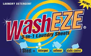 WashEZE 3in1 Laundry Sheets - Travel Pack - case pack 48 loads
