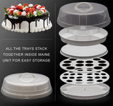 Collasible POrtable Food Carrier ofr Cakes, Cupcakes, Deviled Eggs, Vegetables and Dip - 4 in 1 Perfect Appetizer Platter for Party or Traveling, Space-Saving, Easy to Carry Plastic Storage with Lid